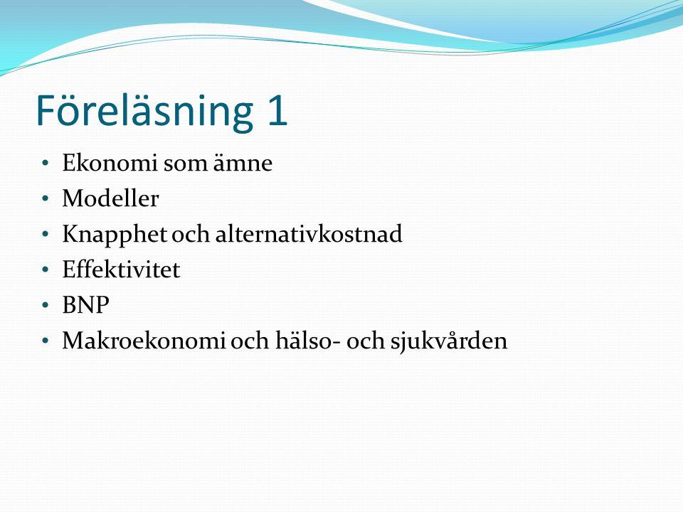 Föreläsning 1 Ekonomi som ämne Modeller Knapphet och alternativkostnad