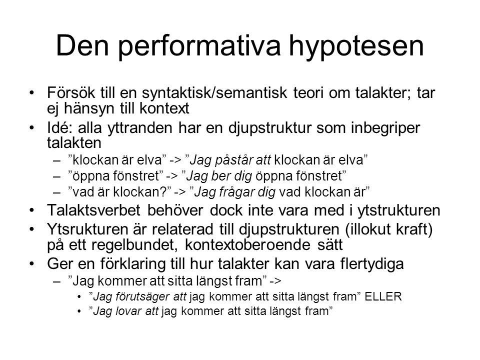 Den performativa hypotesen