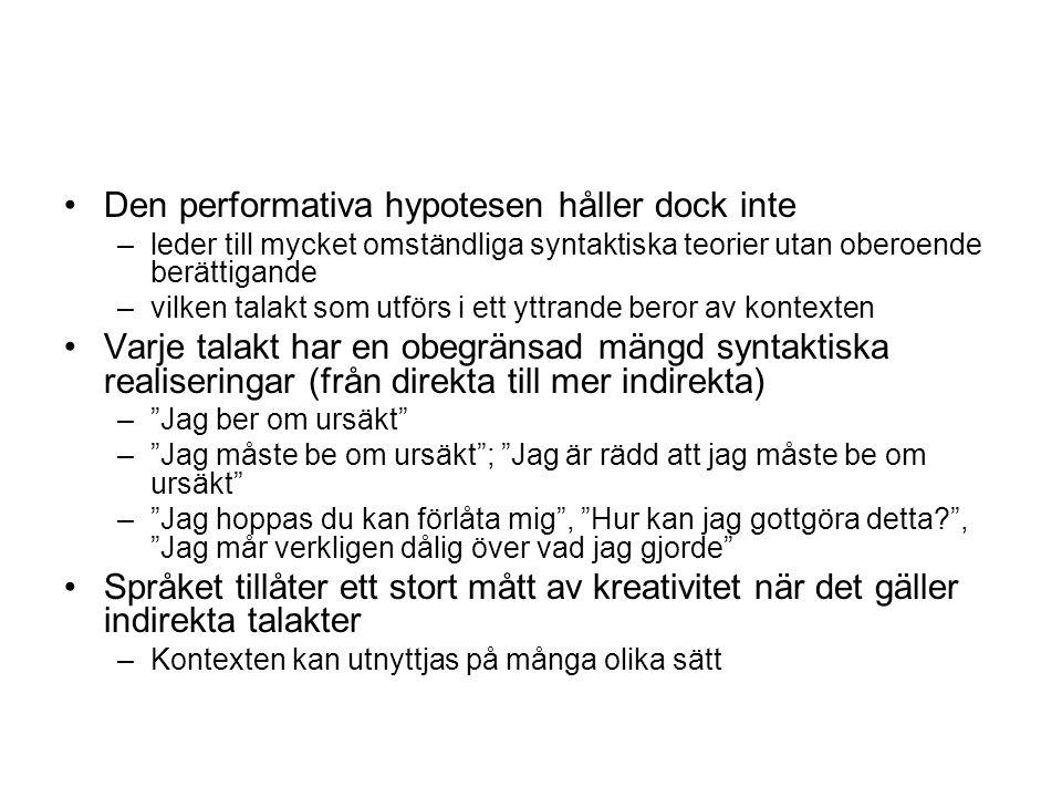 Den performativa hypotesen håller dock inte