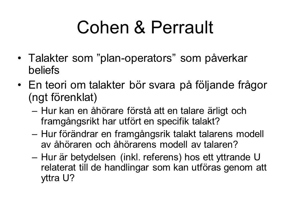 Cohen & Perrault Talakter som plan-operators som påverkar beliefs