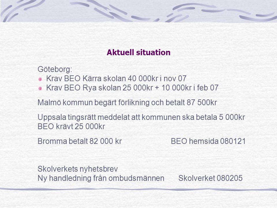 Aktuell situation Göteborg: Krav BEO Kärra skolan 40 000kr i nov 07. Krav BEO Rya skolan 25 000kr + 10 000kr i feb 07.