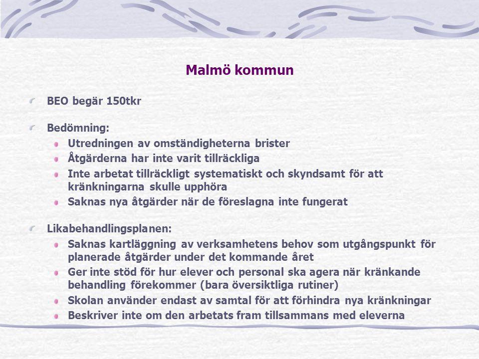 Malmö kommun BEO begär 150tkr Bedömning: