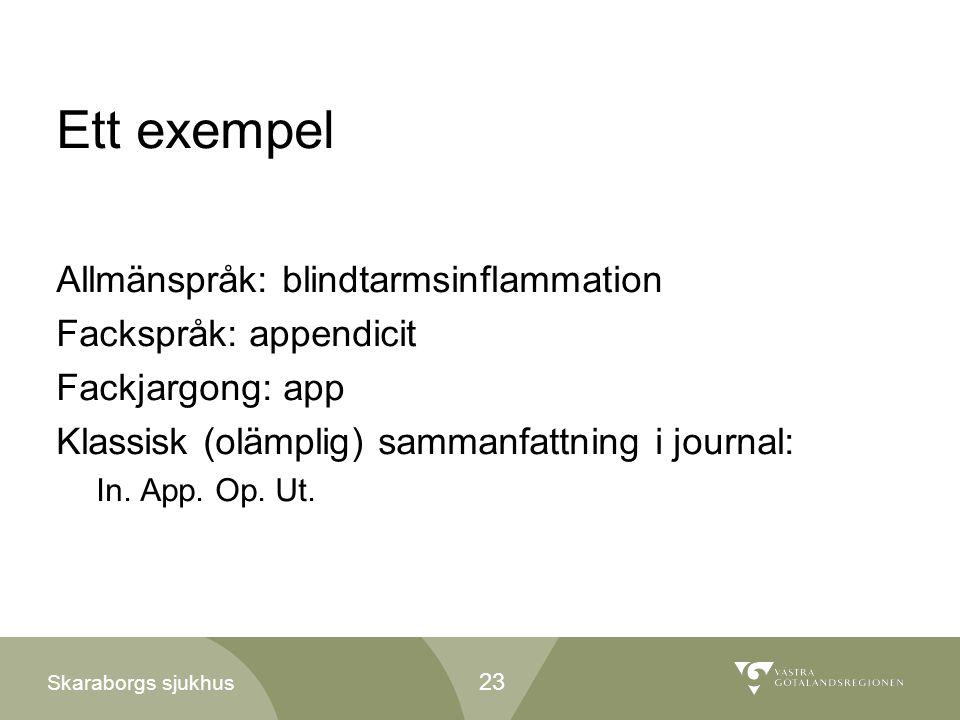 Ett exempel Allmänspråk: blindtarmsinflammation Fackspråk: appendicit