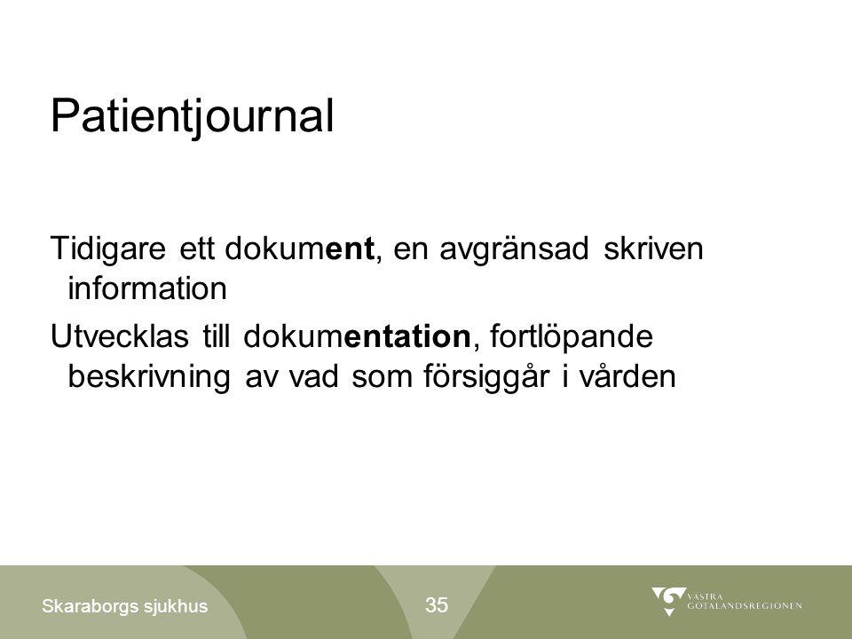 Patientjournal Tidigare ett dokument, en avgränsad skriven information