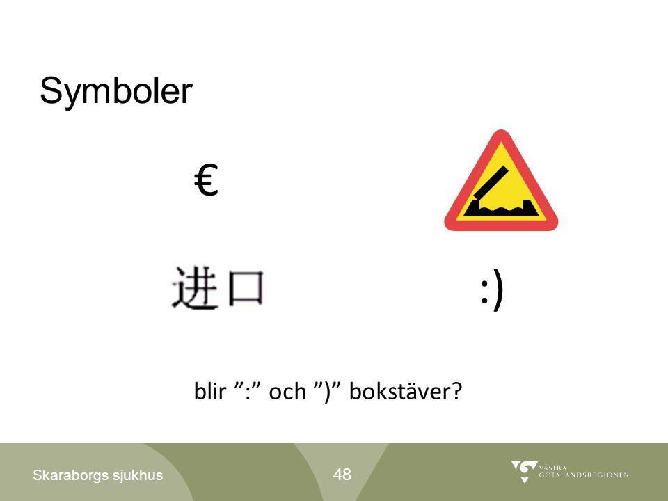 € :) Symboler blir : och ) bokstäver 48