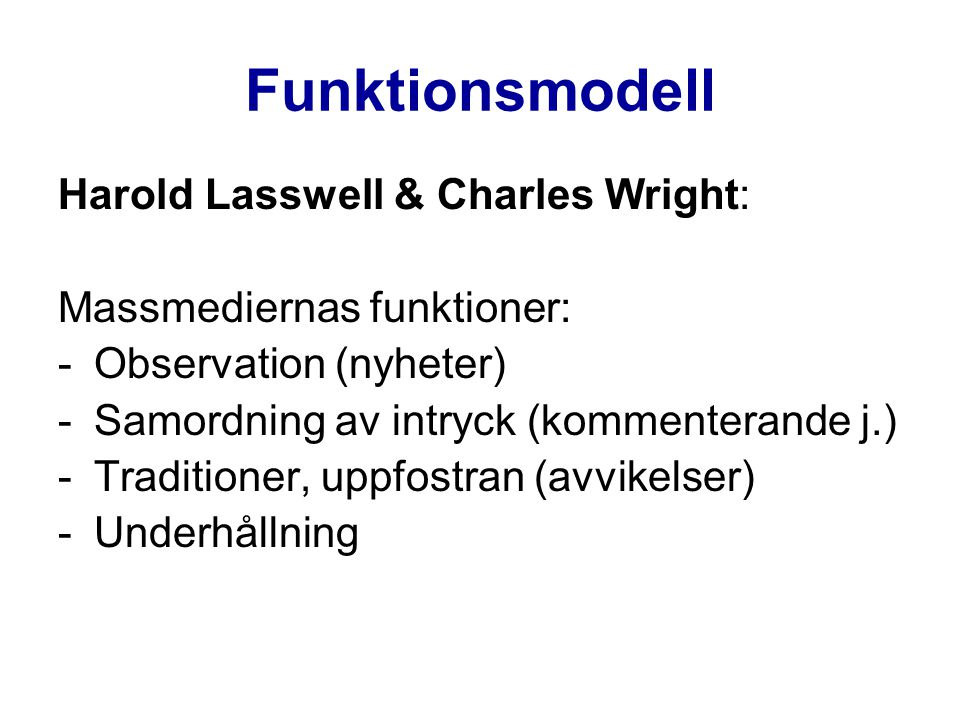 Funktionsmodell Harold Lasswell & Charles Wright: