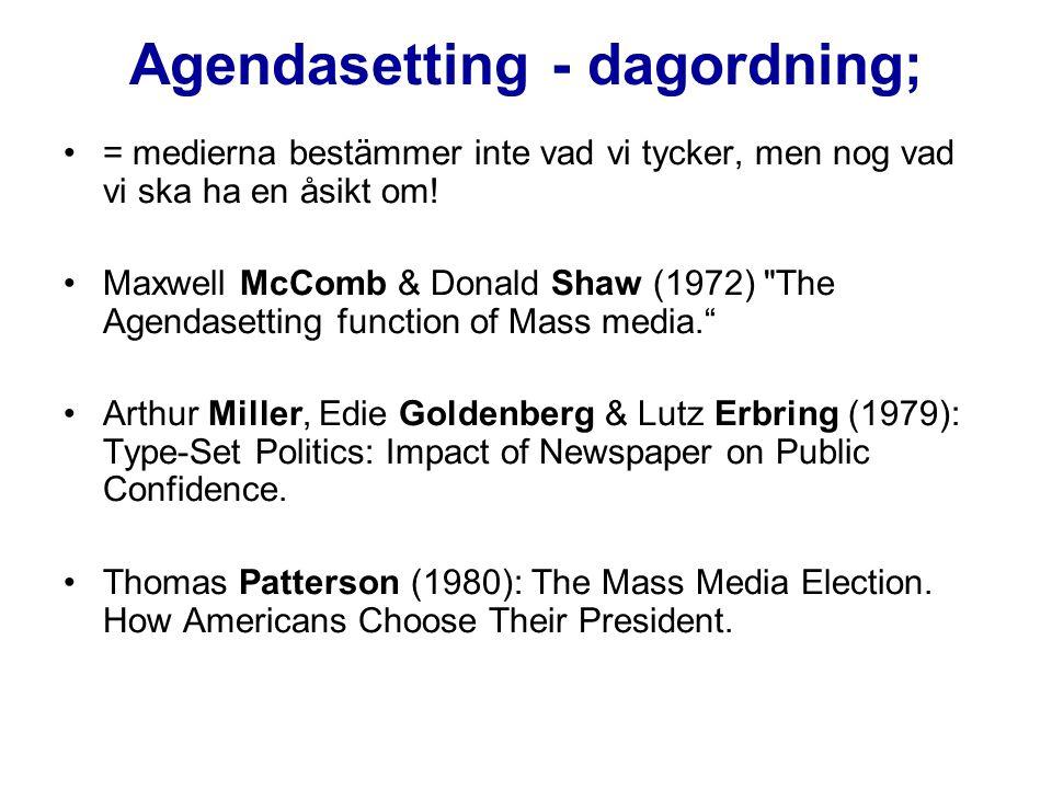 Agendasetting - dagordning;