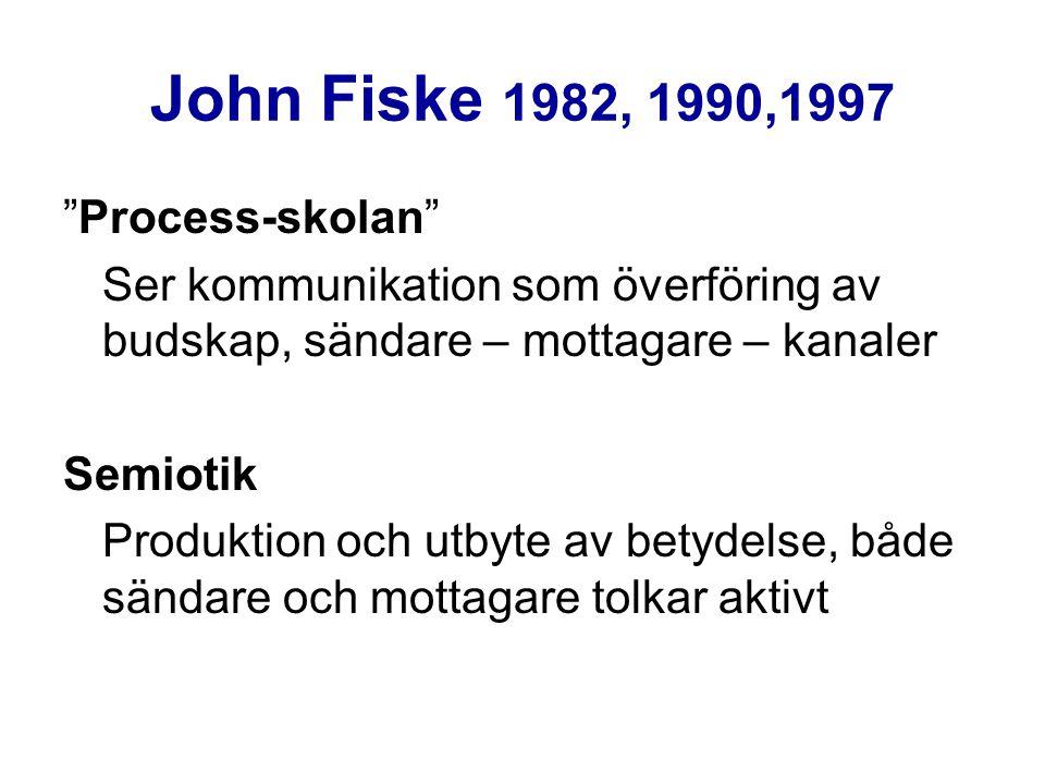 John Fiske 1982, 1990,1997 Process-skolan