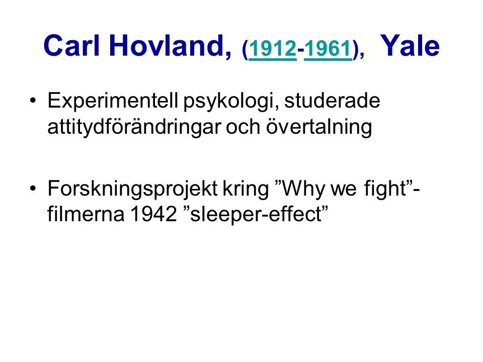 Carl Hovland, (1912-1961), Yale Experimentell psykologi, studerade attitydförändringar och övertalning.
