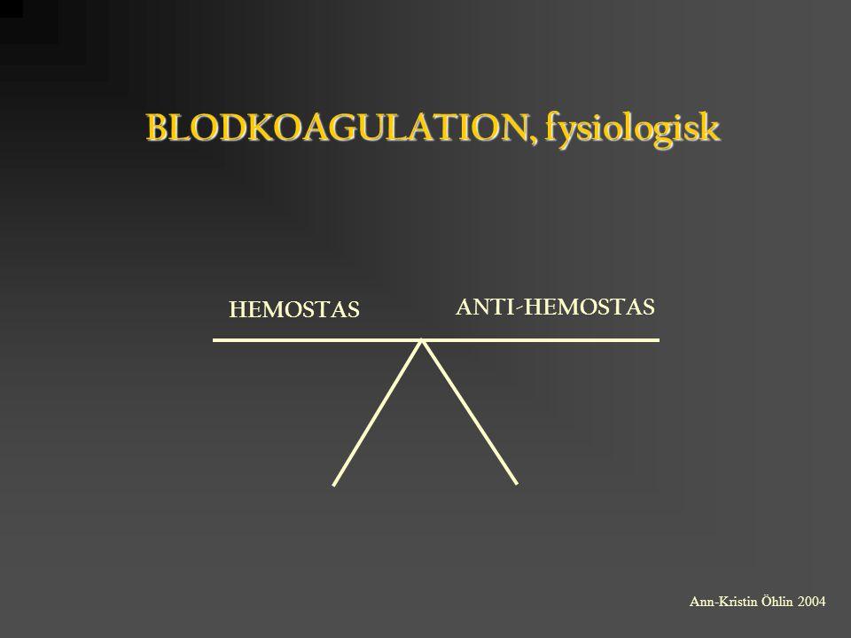 BLODKOAGULATION, fysiologisk