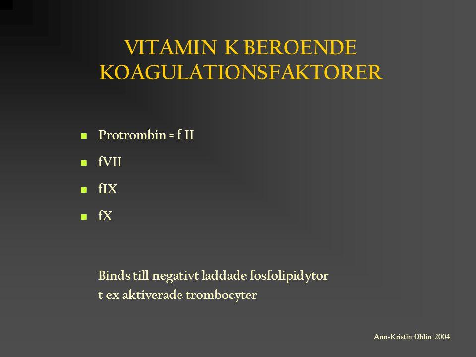 VITAMIN K BEROENDE KOAGULATIONSFAKTORER