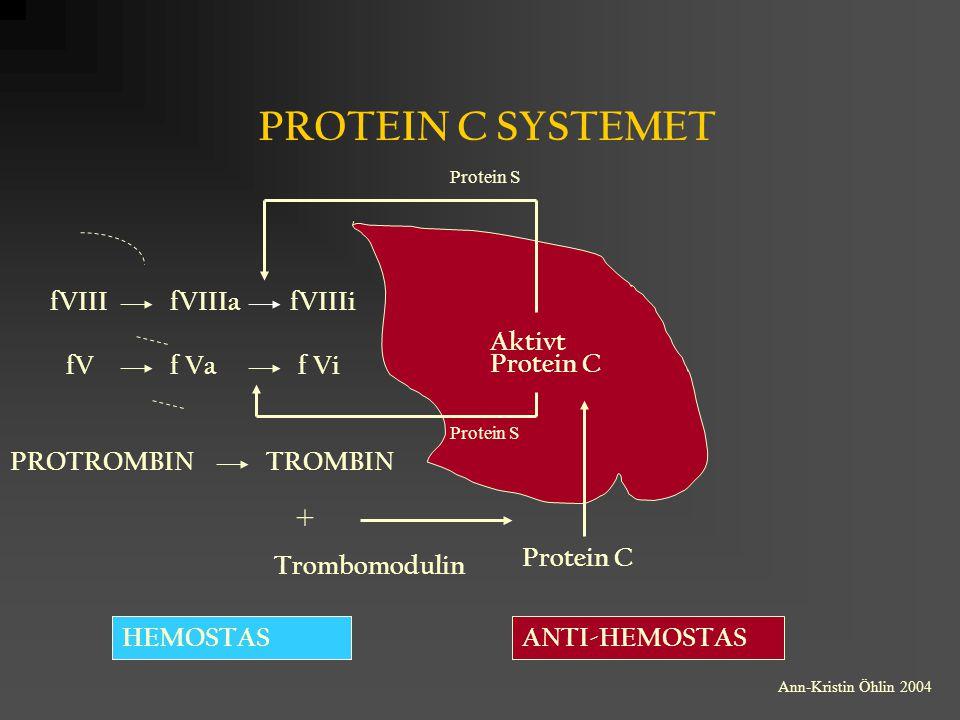 PROTEIN C SYSTEMET + fVIII fVIIIa fVIIIi Aktivt Protein C fV f Va f Vi