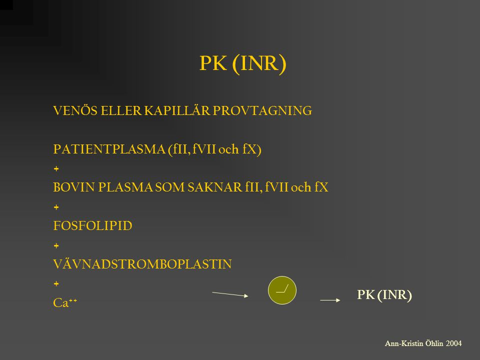 PK (INR) VENÖS ELLER KAPILLÄR PROVTAGNING
