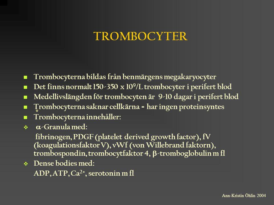 TROMBOCYTER Trombocyterna bildas från benmärgens megakaryocyter