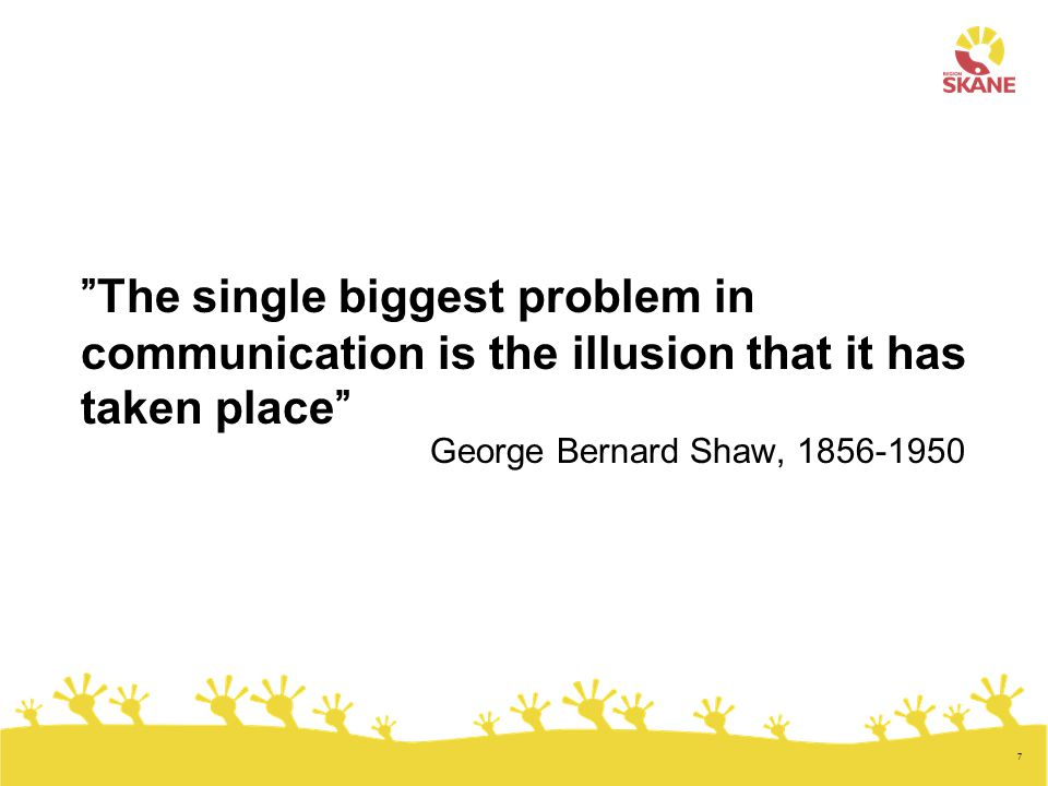 The single biggest problem in communication is the illusion that it has taken place