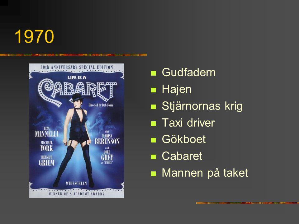 1970 Gudfadern Hajen Stjärnornas krig Taxi driver Gökboet Cabaret