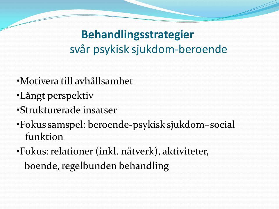 Behandlingsstrategier svår psykisk sjukdom-beroende