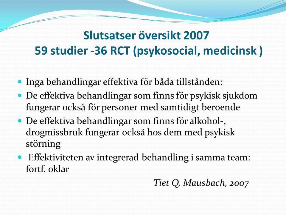Slutsatser översikt 2007 59 studier -36 RCT (psykosocial, medicinsk )
