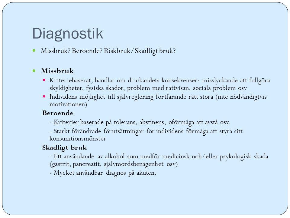 Diagnostik Missbruk Beroende Riskbruk/Skadligt bruk Missbruk