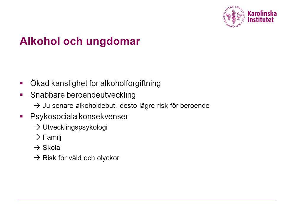 Alkohol och ungdomar Ökad känslighet för alkoholförgiftning