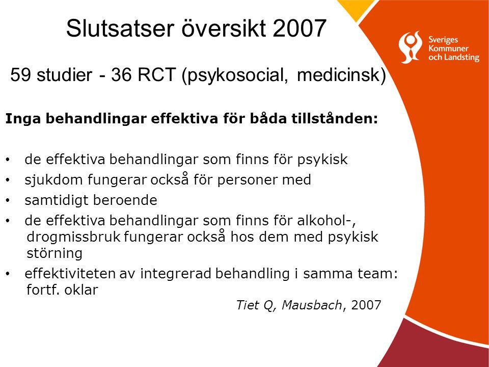 Slutsatser översikt 2007 59 studier - 36 RCT (psykosocial, medicinsk)