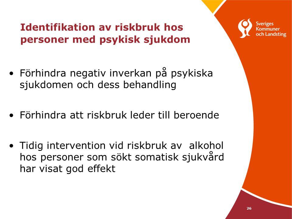 Identifikation av riskbruk hos personer med psykisk sjukdom