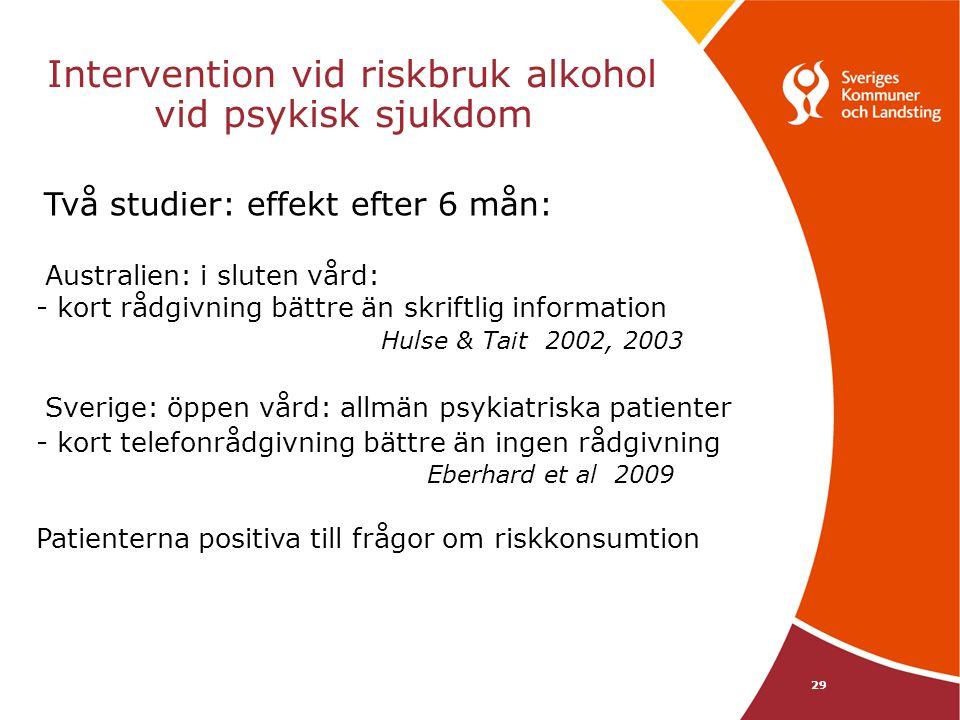 Intervention vid riskbruk alkohol vid psykisk sjukdom