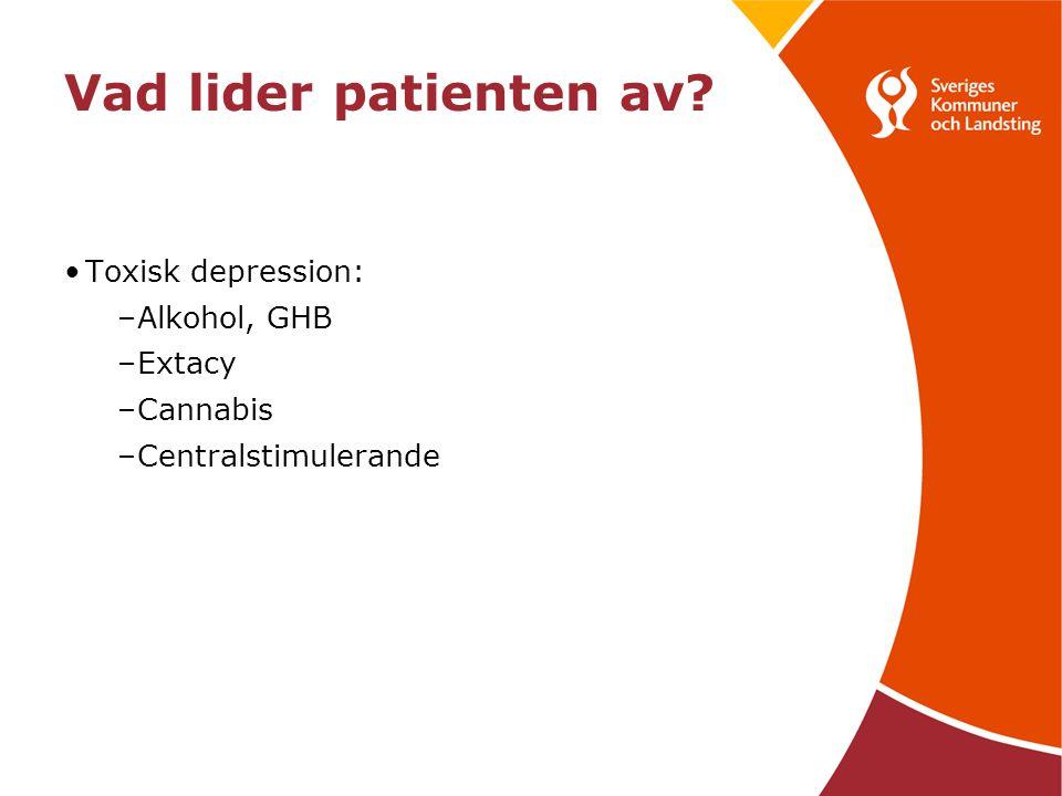 Vad lider patienten av Toxisk depression: Alkohol, GHB Extacy