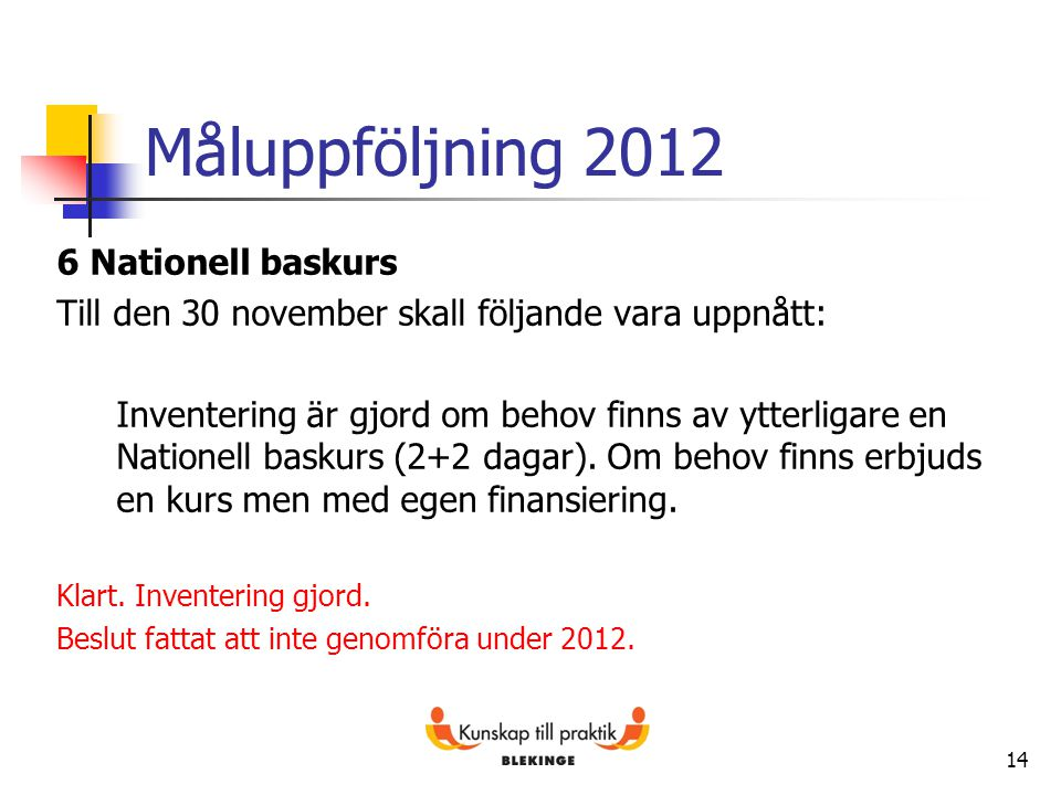 Måluppföljning 2012 6 Nationell baskurs