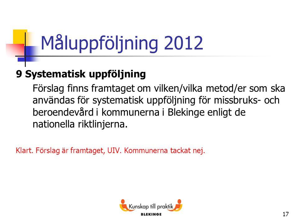 Måluppföljning 2012 9 Systematisk uppföljning