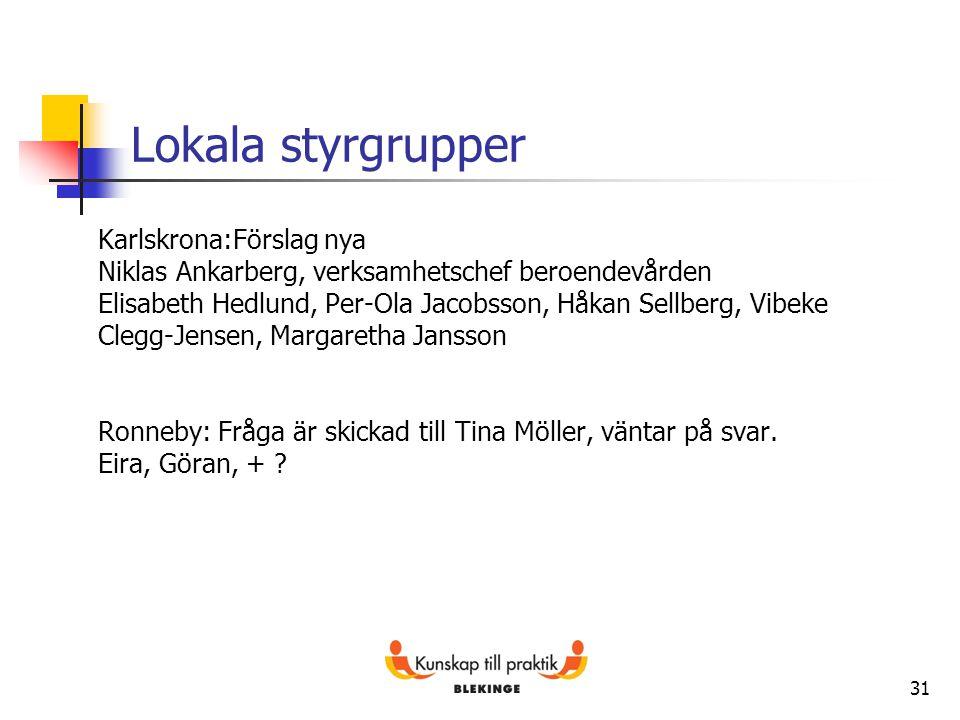 Lokala styrgrupper Karlskrona:Förslag nya