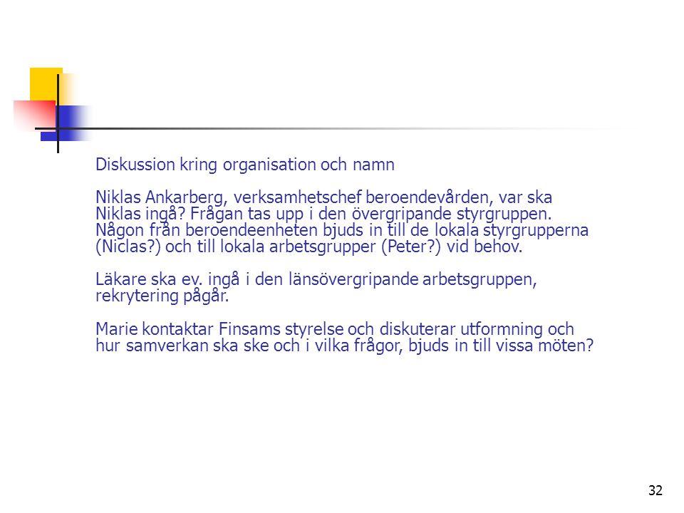 Diskussion kring organisation och namn