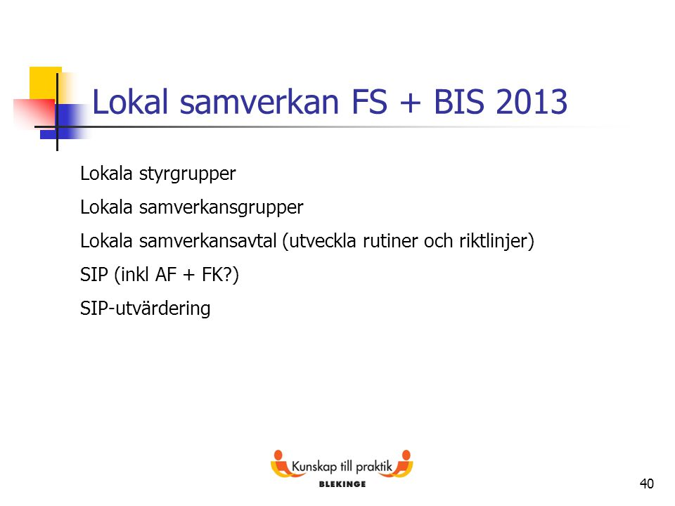 Lokal samverkan FS + BIS 2013