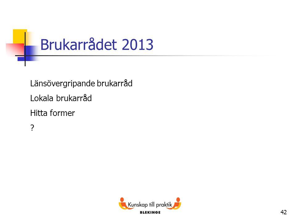Brukarrådet 2013 Länsövergripande brukarråd Lokala brukarråd