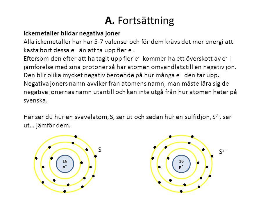 A. Fortsättning Ickemetaller bildar negativa joner