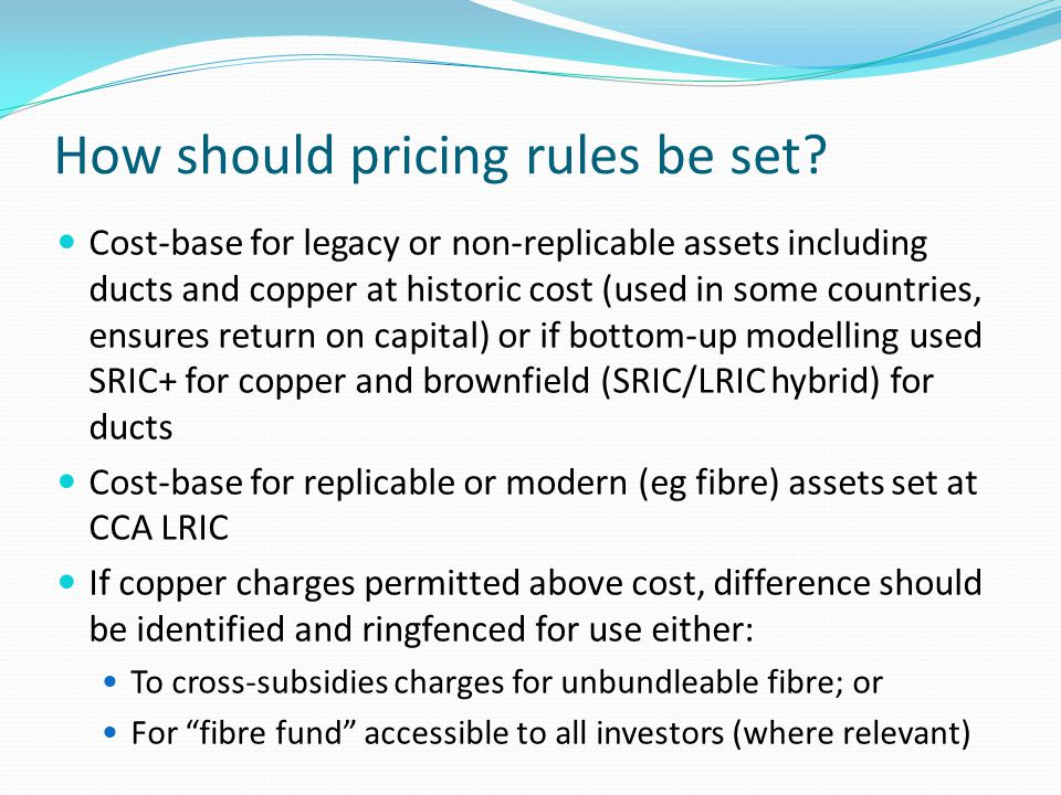 How should pricing rules be set