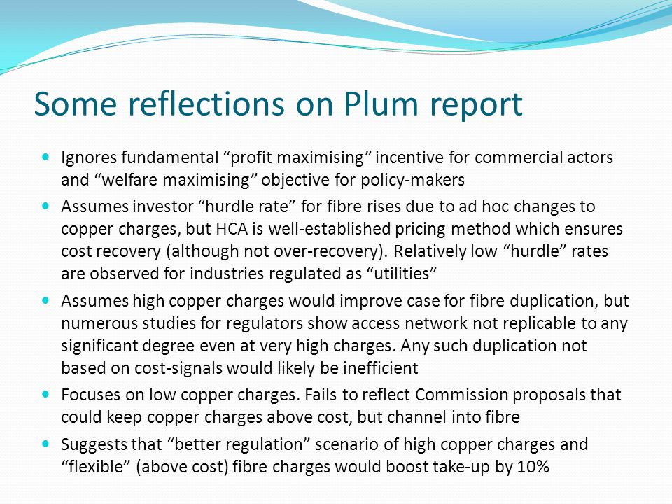Some reflections on Plum report