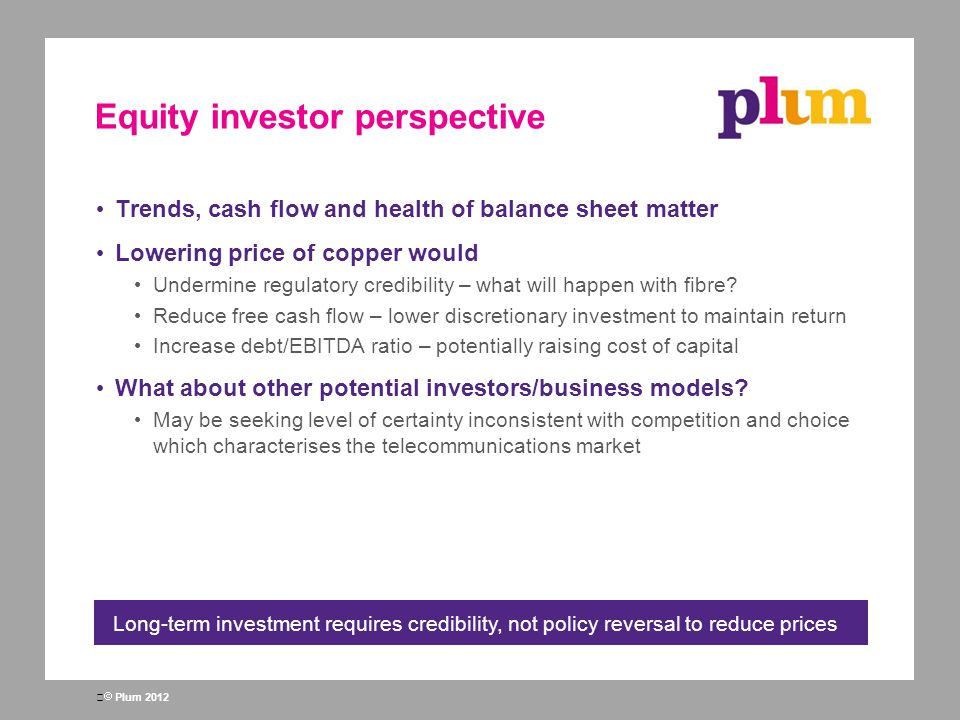 Equity investor perspective