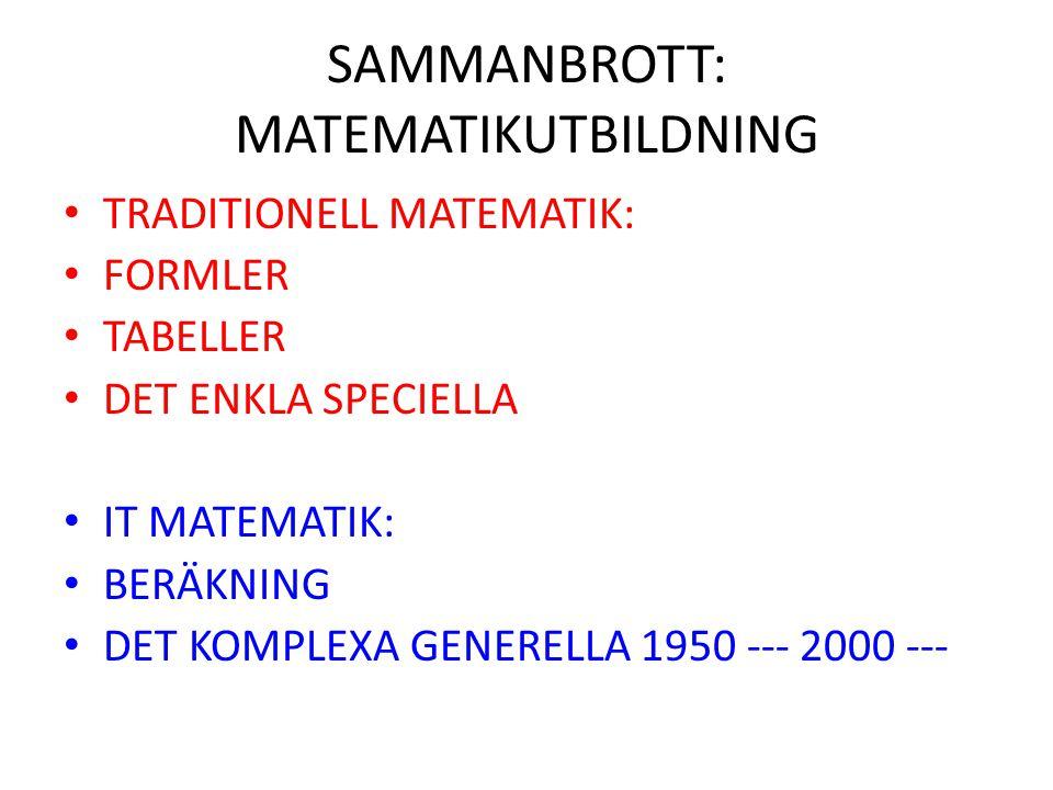 SAMMANBROTT: MATEMATIKUTBILDNING