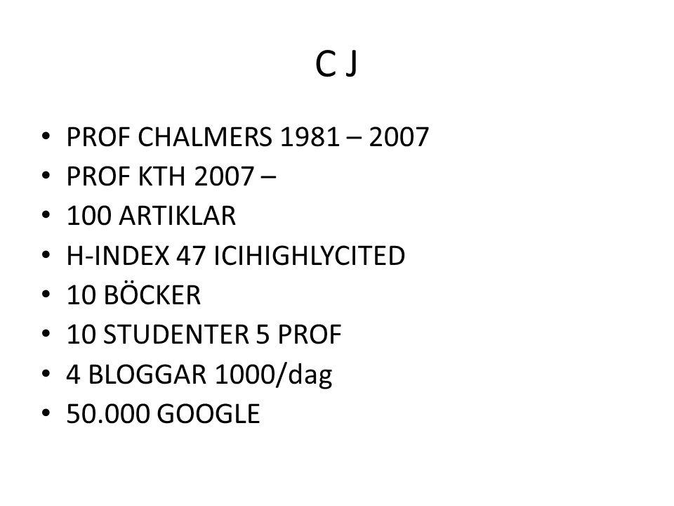 C J PROF CHALMERS 1981 – 2007 PROF KTH 2007 – 100 ARTIKLAR