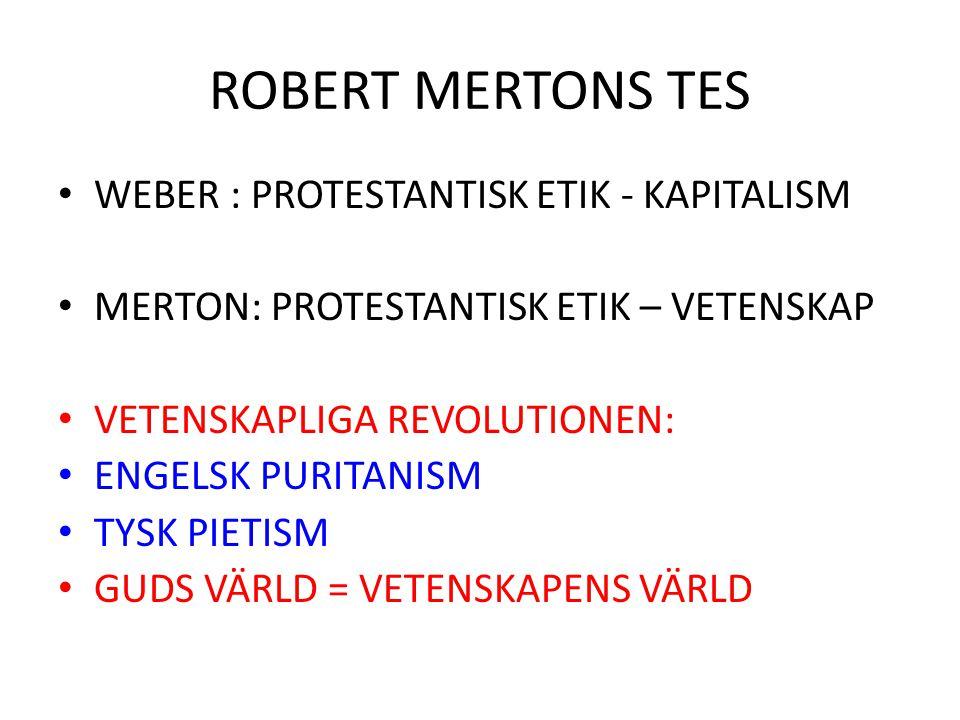 ROBERT MERTONS TES WEBER : PROTESTANTISK ETIK - KAPITALISM