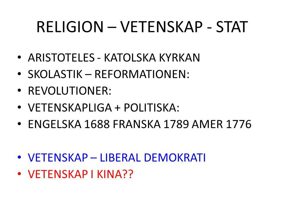 RELIGION – VETENSKAP - STAT