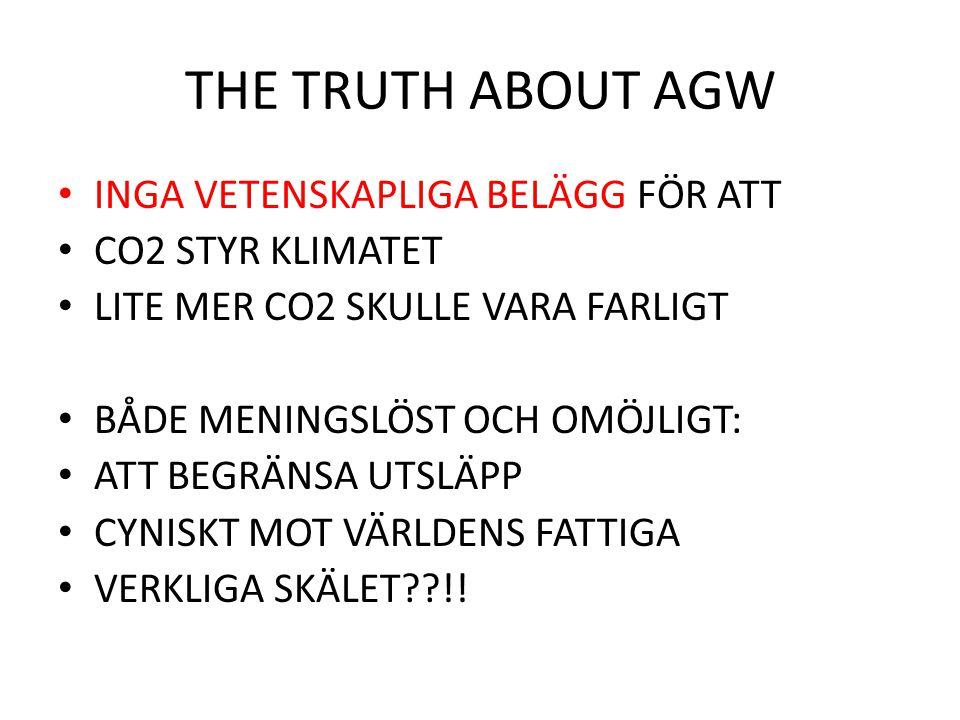 THE TRUTH ABOUT AGW INGA VETENSKAPLIGA BELÄGG FÖR ATT