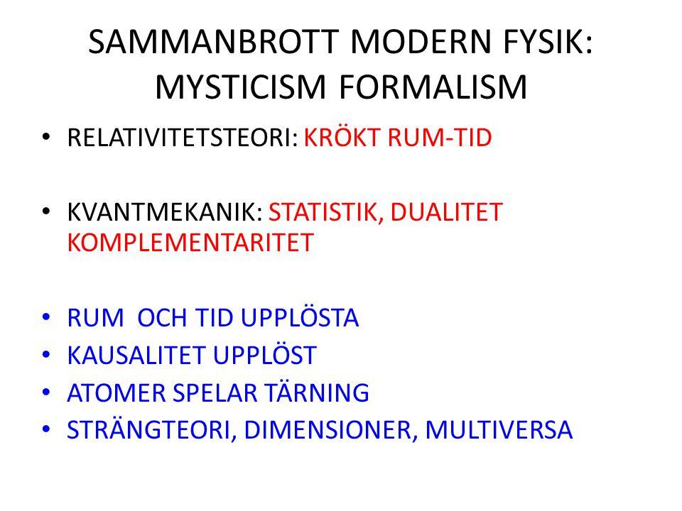 SAMMANBROTT MODERN FYSIK: MYSTICISM FORMALISM