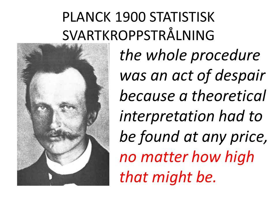 PLANCK 1900 STATISTISK SVARTKROPPSTRÅLNING