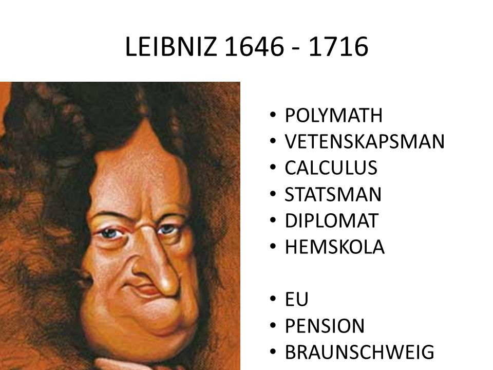 LEIBNIZ 1646 - 1716 POLYMATH VETENSKAPSMAN CALCULUS STATSMAN DIPLOMAT