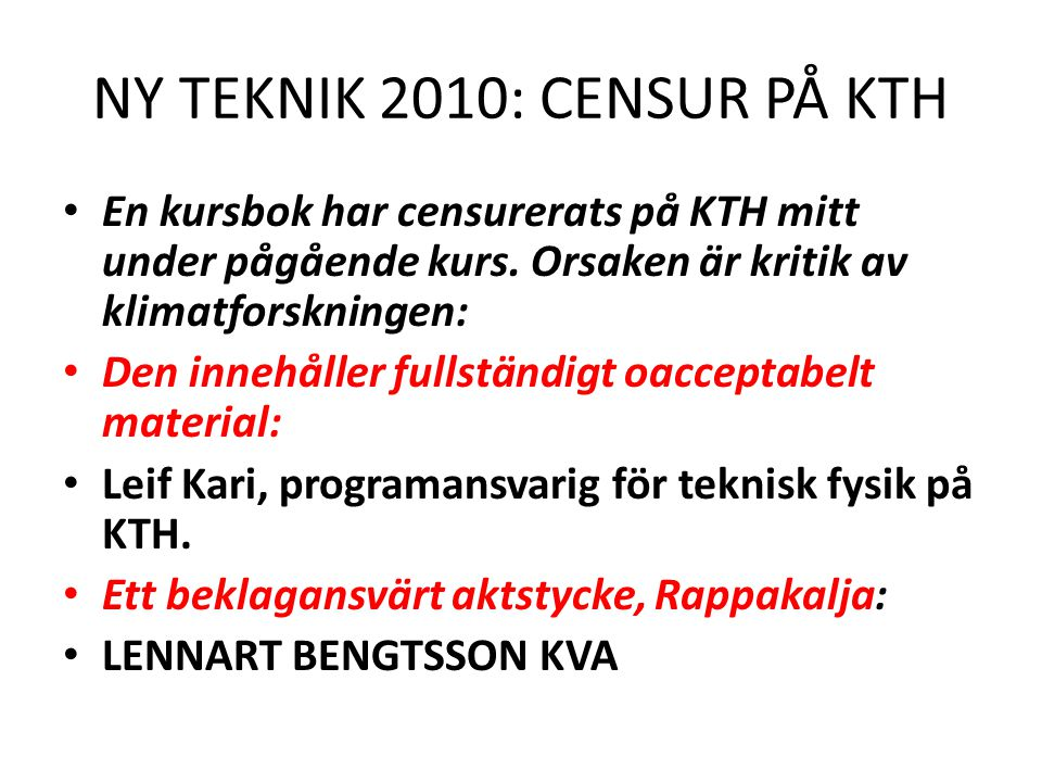 NY TEKNIK 2010: CENSUR PÅ KTH
