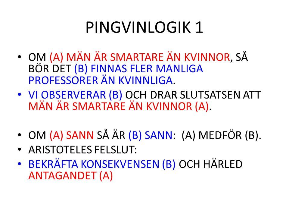 PINGVINLOGIK 1 OM (A) MÄN ÄR SMARTARE ÄN KVINNOR, SÅ BÖR DET (B) FINNAS FLER MANLIGA PROFESSORER ÄN KVINNLIGA.