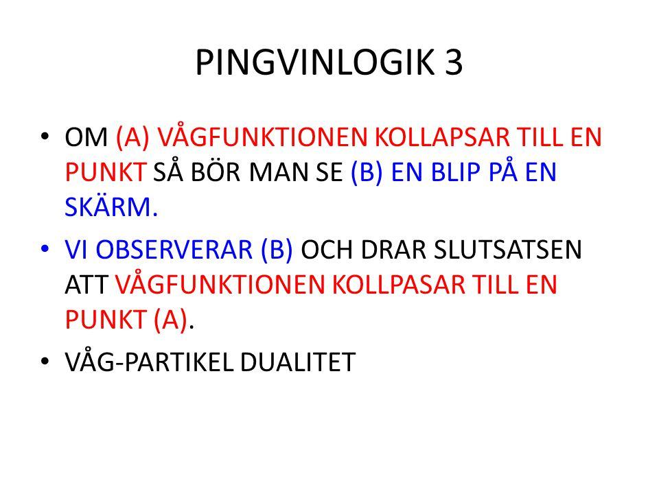 PINGVINLOGIK 3 OM (A) VÅGFUNKTIONEN KOLLAPSAR TILL EN PUNKT SÅ BÖR MAN SE (B) EN BLIP PÅ EN SKÄRM.