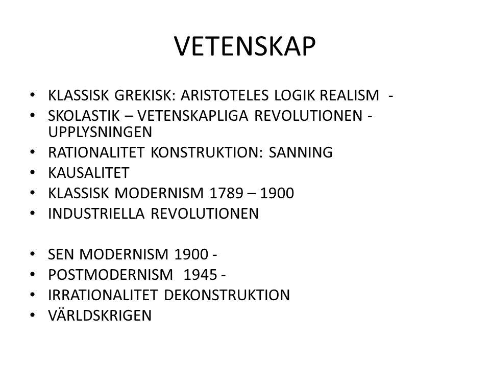 VETENSKAP KLASSISK GREKISK: ARISTOTELES LOGIK REALISM -